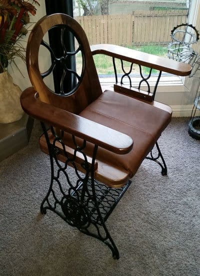 Project Ideas June #3: Upcycled sewing machine base becomes a regal chair.