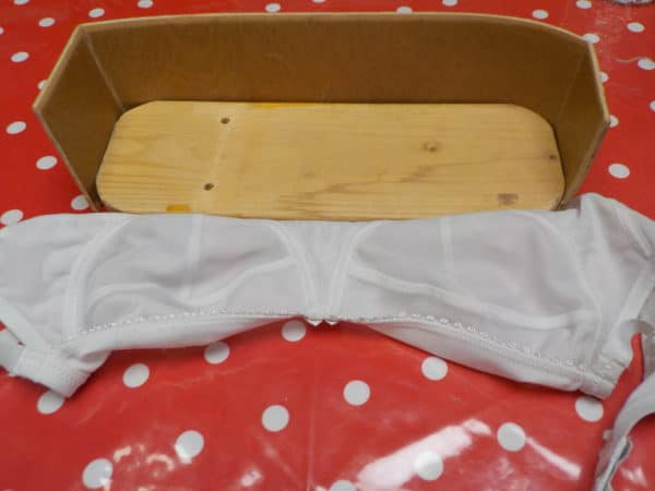 Find a box that is close in size to the bra you want to use for this Upcycled Bra Planter