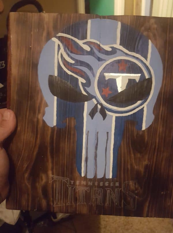 Hand Painted Pallet Plaques can be made by combining two of your favorite logos.
