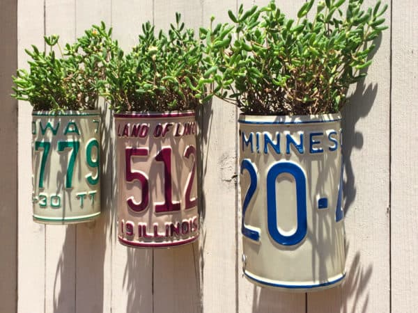 Turn Old Plates Into License Plate Planters 2 • Garden Ideas