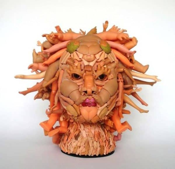 Halloween 2017 will be even creepier with an idea like this doll parts facial sculpture in the shape of Medusa.