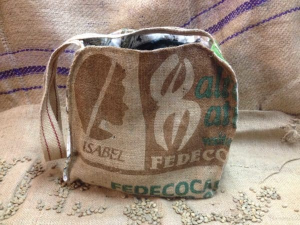 purses and bags from old coffee bags are fun Sewing Month Project ideas.