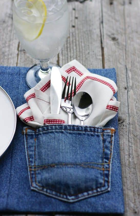 Turn jeans into napkin holders as your Sewing Month Project.