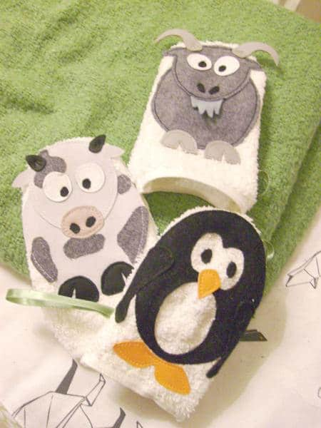 Make animal-themed washcloths for your Sewing Month Project.