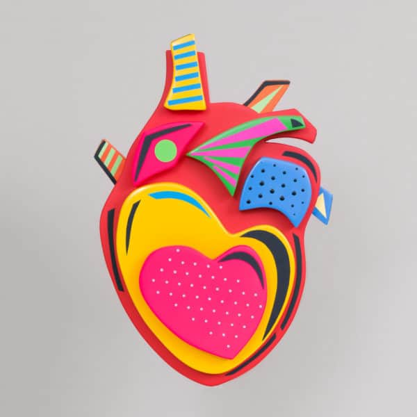 This sculpture depicts the heart in graphic serial novel style.