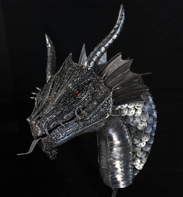 Upcycled Metal Sculptures include this amazing metal dragon.