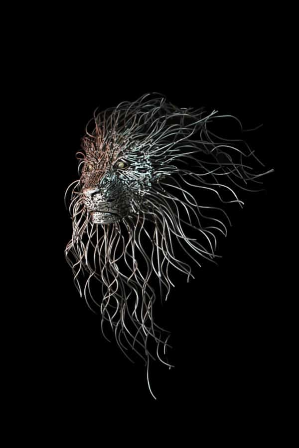 Upcycled Metal Sculptures include a beautiful lion's head with a flowing metal mane.