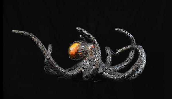Upcycled Metal Sculptures like this octopus look like they're in motion even though they're static.