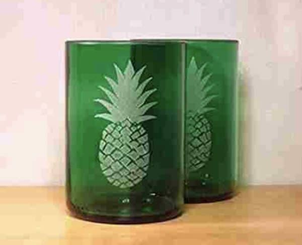 Upcycled Etched Glasses can be made in a myriad of patterns. This set is done in a pineapple theme.