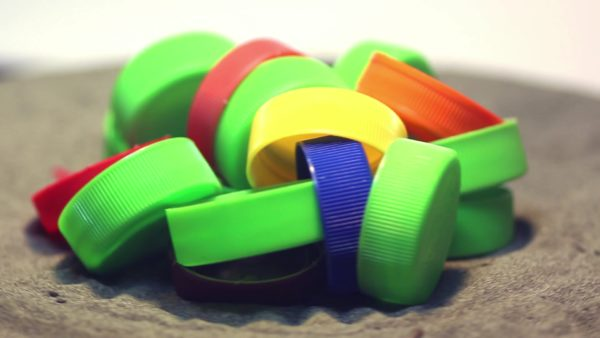 Recycled Plastic Turtles are made from plastic bottle caps.