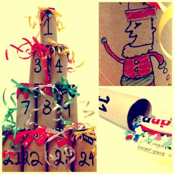 Cardboard tubes become a great DIY advent calendar and they're one of our Christmas Decorations.