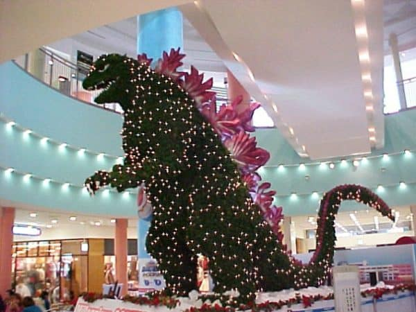 Christmas Trees can be fanciful like this Godzilla tree seen in Tokyo.