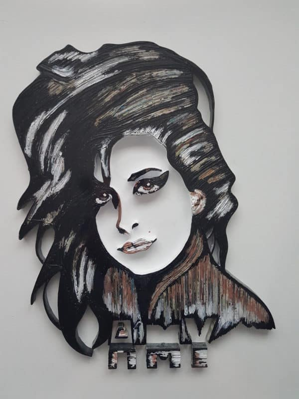 3-d Upcycled Paper Wall Art includes a portrait of Amy Winehouse.
