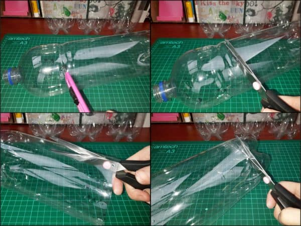 First, empty a 2-liter bottle and cut the tapered top and beveled bottom off so you're left with the center that is straight for this Upcycled Plastic Bottle Handbag.