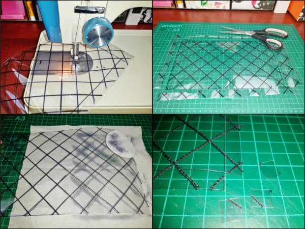 Using a marker and a quilting grid, draw lines over the plastic and then stitch over to create the diamond pattern for your Upcycled Plastic Bottle Handbag.