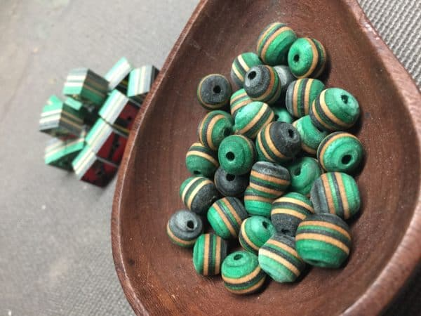 October 2017 Upcycled Crafts include beads from skateboards.