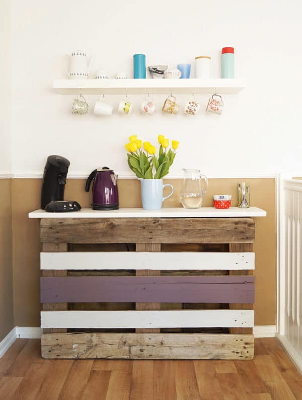 Another of our top 5 Recycled Art Projects ideas includes this easy one-pallet coffee bar.