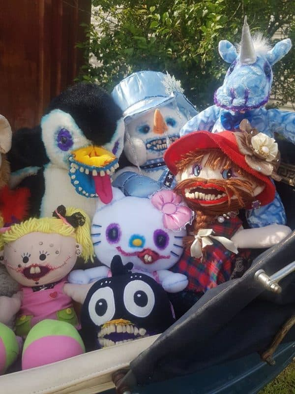 Punk Bear has several friends, some featuring human teeth, upcycled ribbon, fabric, and more.