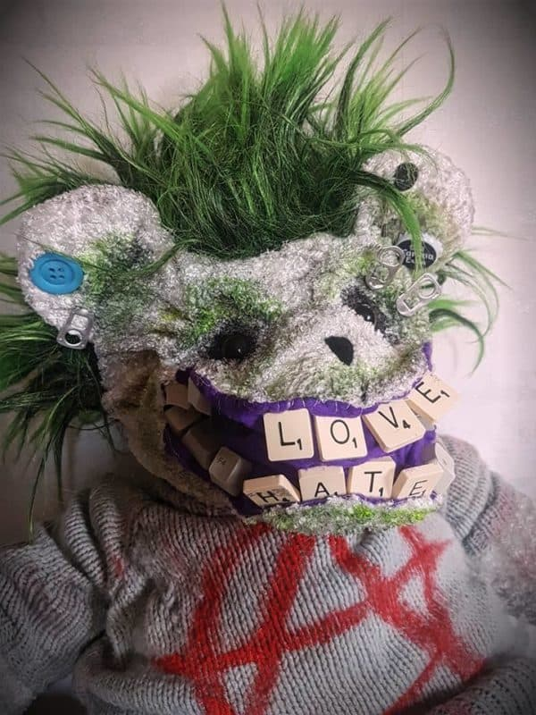 This Punk Bear features upcycled buttons, pull tabs, an old sweater, and lots of attitude.