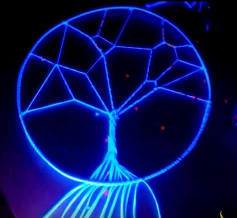 Add a UV light and this Tree Of Life Dreamcatcher casts a haunting glow.