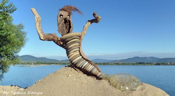Creative Driftwood Art like this merman make use of upcycled items besides driftwood.