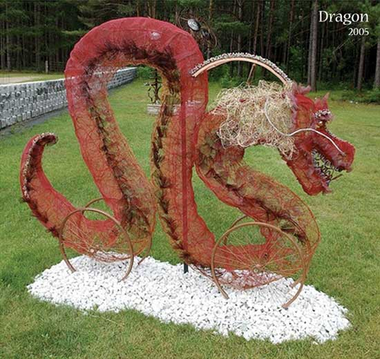 A Dragon sculpture made out of Upcycled Copper wire and more.