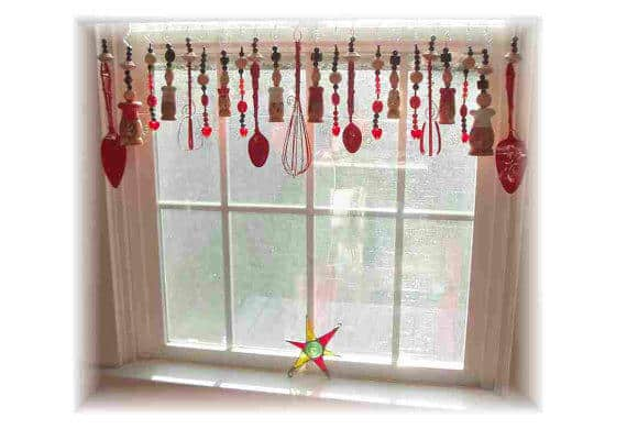 Use old whisks, beaters, spoons, salt & pepper shakers, along with beads and other baubles for a whimsical Upcycled Window Valance.