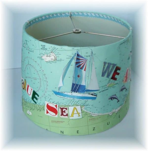 Map Lampshade upcycles old maps and magazine letters.