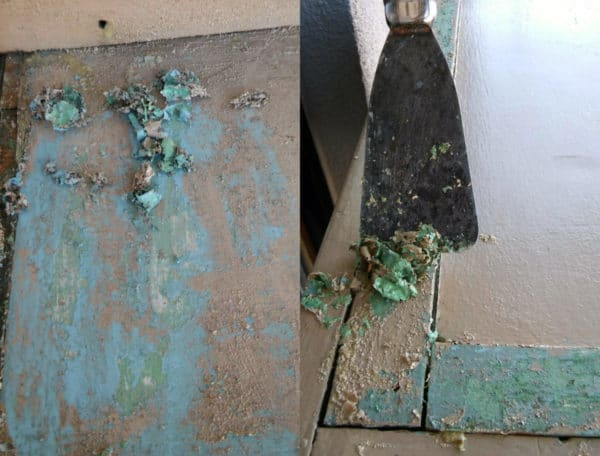 I stripped this 1950's Cabinet using gel paint stripper.
