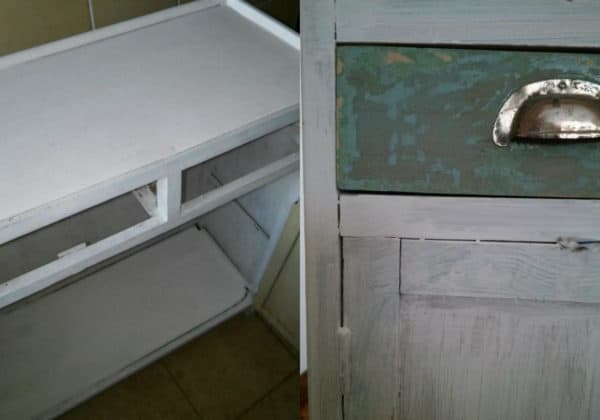 I painted the base of this 1950's Cabinet white.