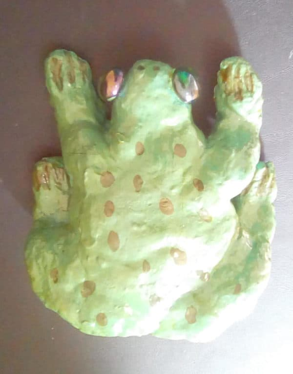 This Salt Dough Frog features upcycled stone/glass eyes.