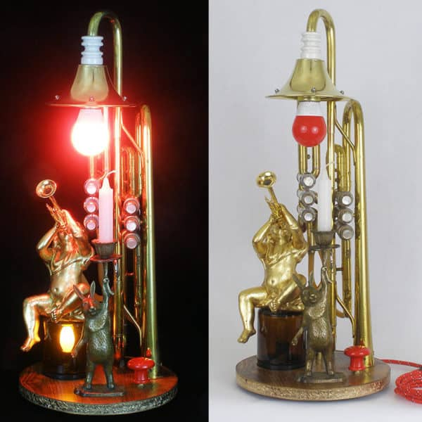 These Lightmusic Lamps are created from trumpets, coronets and more, and feature candle holders just in case.