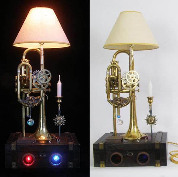 Steampunk touches look amazing against the brass backdrop of some of these Lightmusic Lamps.