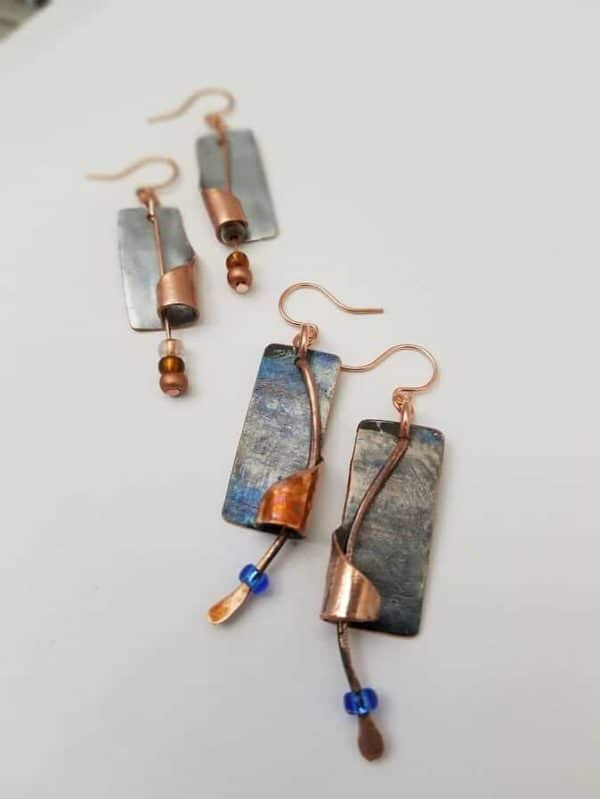Upcycled Chromed Copper Artisan Earrings 3 • Upcycled Jewelry Ideas