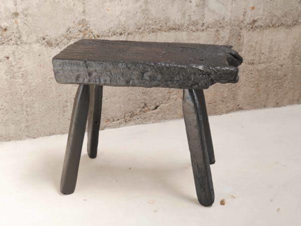 Blackened Rustic Wood Stool 1 • Wood & Organic