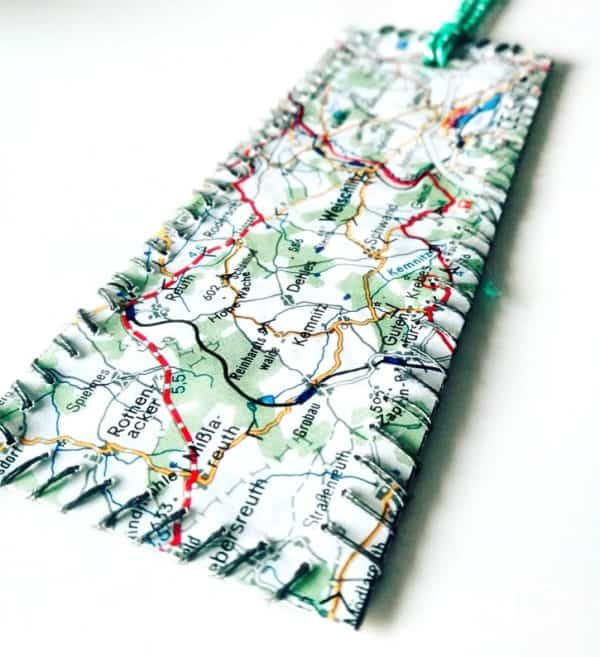 Upcycled Maps Into Bookmark 1 • Recycling Paper & Books