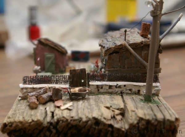 "Wooden Miniature Scene: ""someone's Grandma's House"" 9 • Recycled Art"