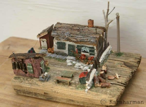 "Wooden Miniature Scene: ""someone's Grandma's House"" 1 • Recycled Art"