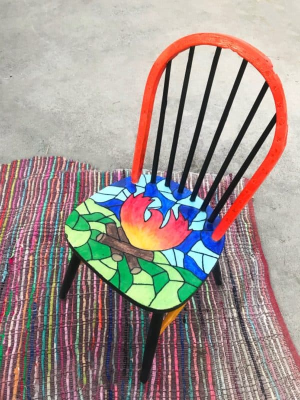 A Chair That Survived California's Camp Fire Gets New Life With a Colorful Makeover 9 • Recycled Furniture
