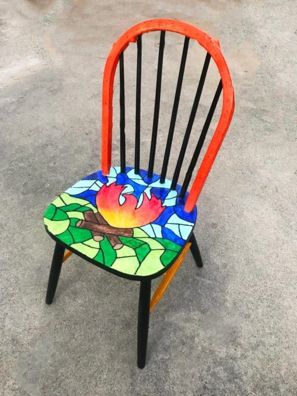 A Chair That Survived California's Camp Fire Gets New Life With a Colorful Makeover 1 • Recycled Furniture
