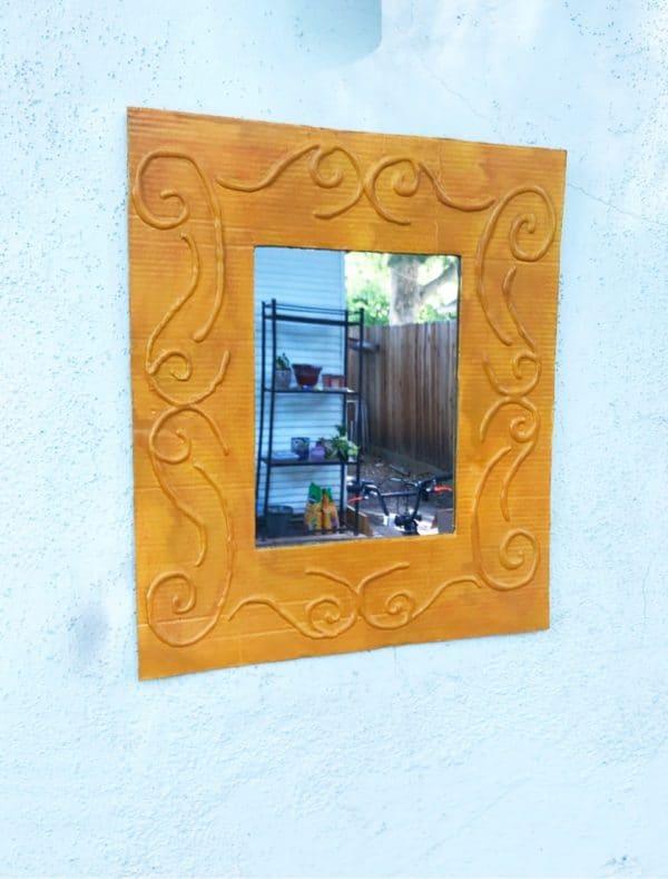 Easy DIY: Make a Decorative Framed Mirror Using Recycled Cardboard and a Glue Gun 1 • Recycled Cardboard