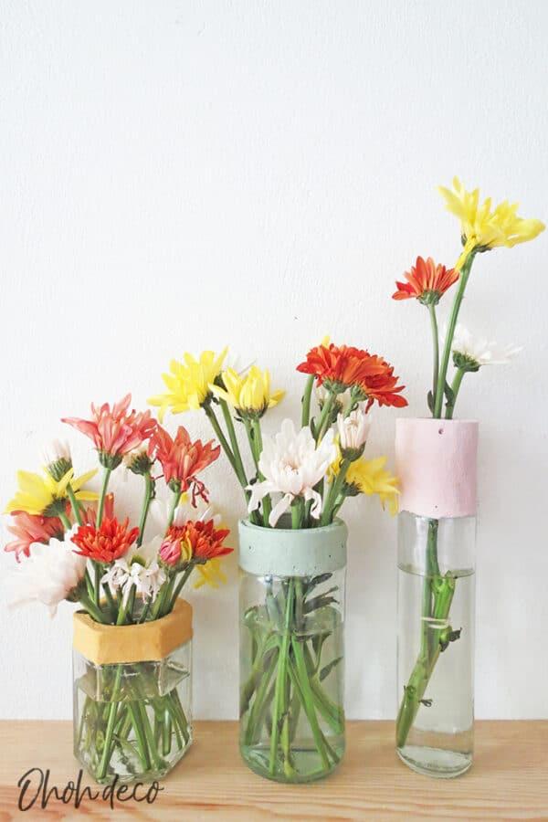 DIY: Glass Bottles & Jars Into Flower Vases 1 • Recycled Glass
