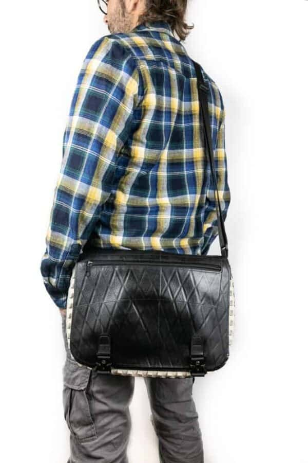 Handmade Messenger Bag From Upcycled Tires 1 • Accessories