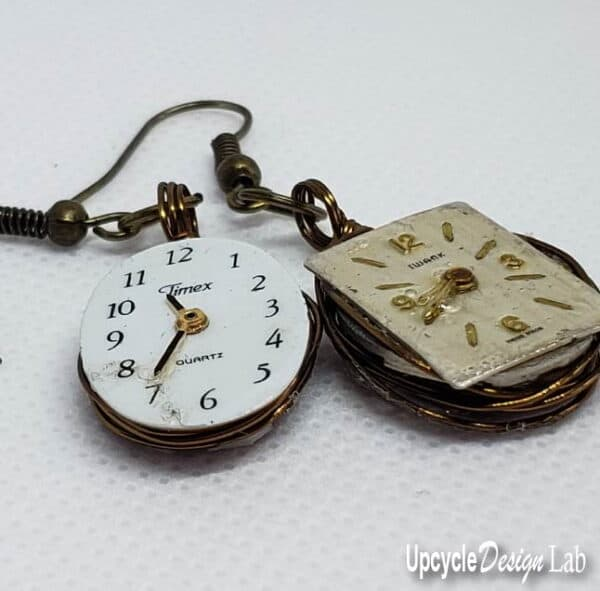 Simple Watch Face Earrings (Version 2) 5 • Upcycled Jewelry Ideas