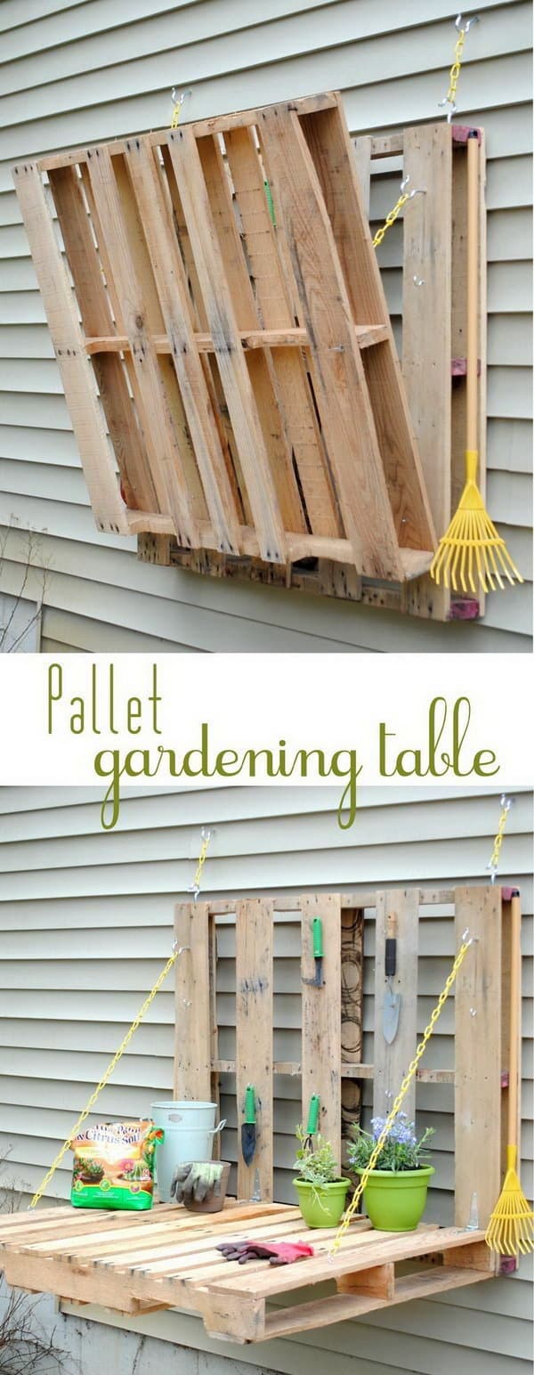 Vertical Pallet Gardening Table 1 • Do-It-Yourself Ideas