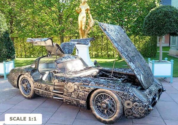 sculpture_recycled_metal_Mercedes_300_SLR_600