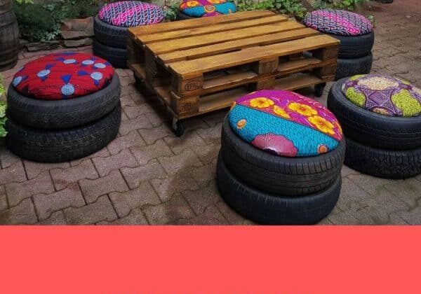 Recycled-tire-poufs