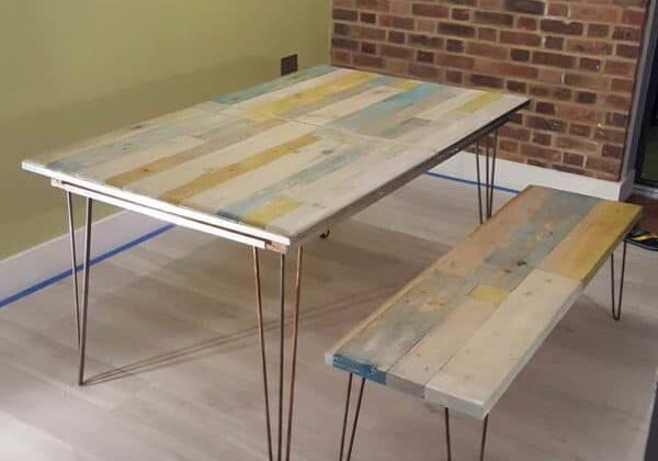 recyclart.org-extendable-pallet-table-with-matching-bench-and-coffee-table