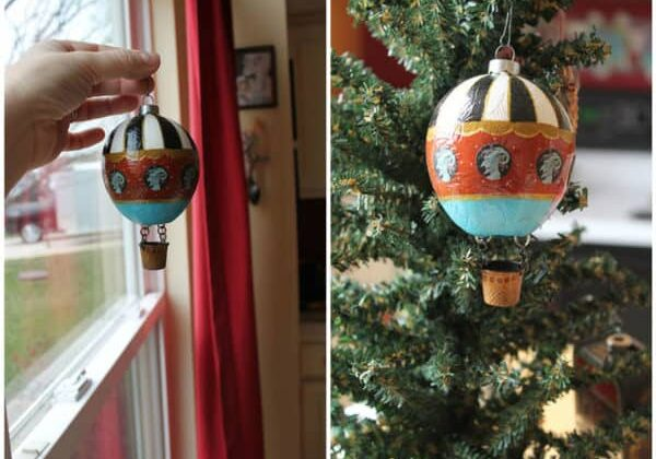 Hot Air Balloon Ornament from Found Objects 1