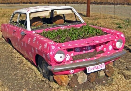 recyclart.org-old-car-reused-into-pink-planter-01